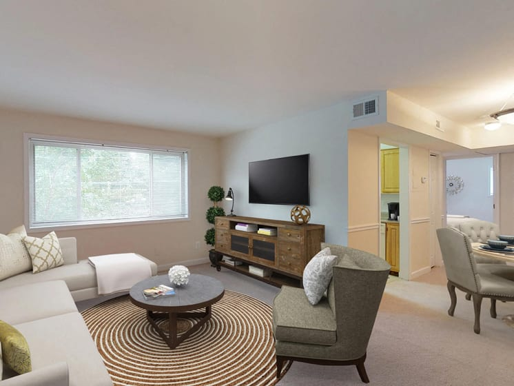 living room area with modern furniture  at Woodlee Terrace Apartments, Woodbridge, Virginia