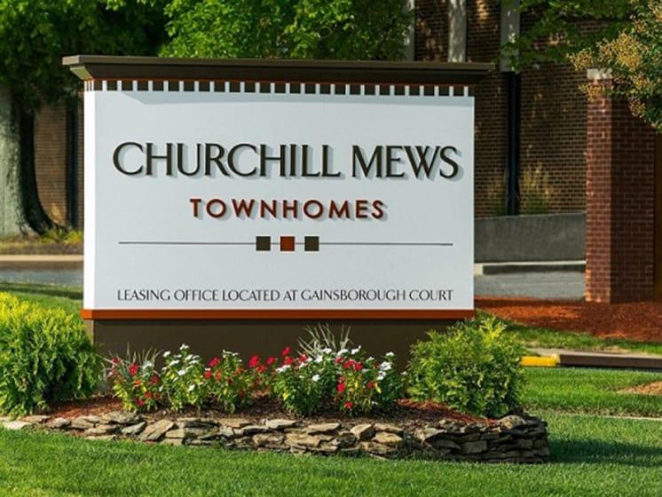 churchill mews sign near entrance of apartments at Gainsborough Court Apartments, Fairfax, Virginia