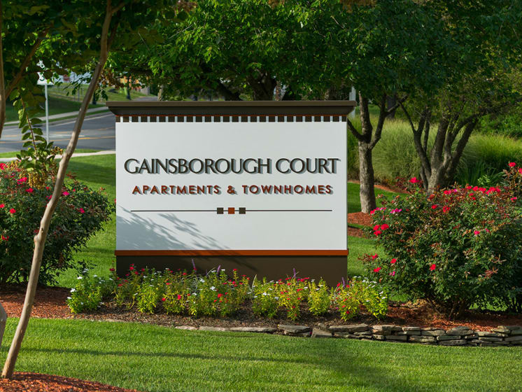 outdoor sign near entrance of apartment complex at Gainsborough Court Apartments, Fairfax, 22030