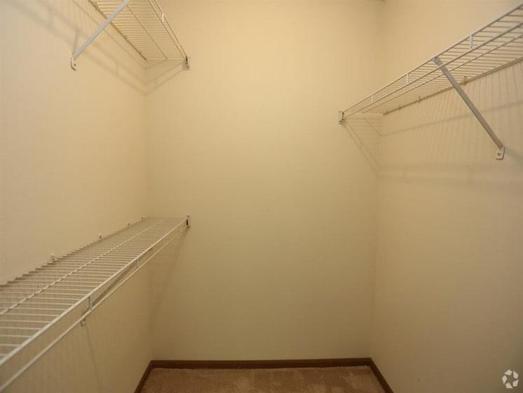 Built-In Shelving In Closet at Deer Run Apartments, Brown Deer, Wisconsin