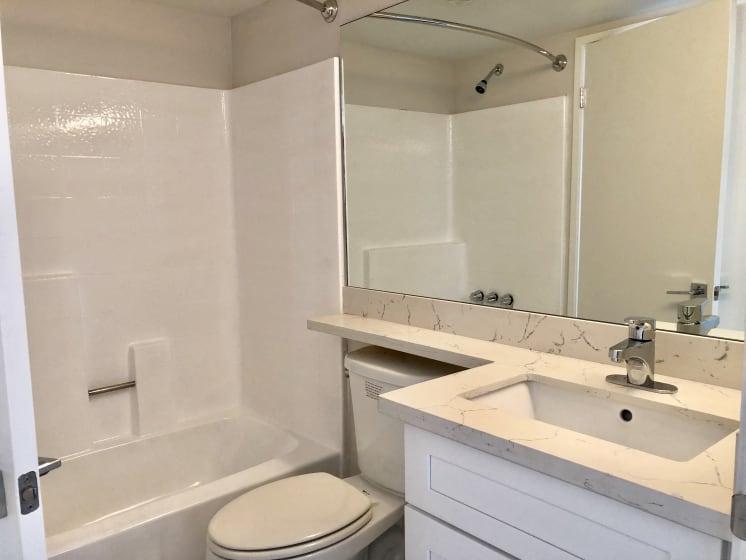 Bathroom wit Toilet, Bathtub, Full Vanity, and Sink Countertop