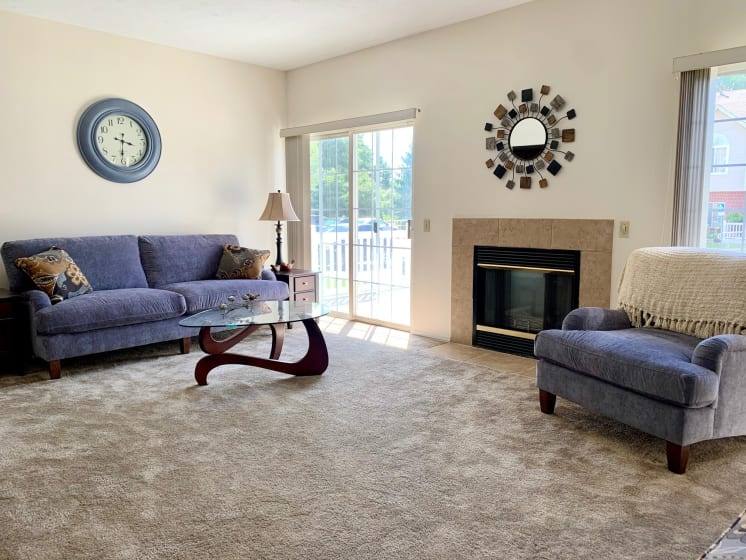 Spacious Living Room at Blueberry Hill Apartments, Rochester, NY