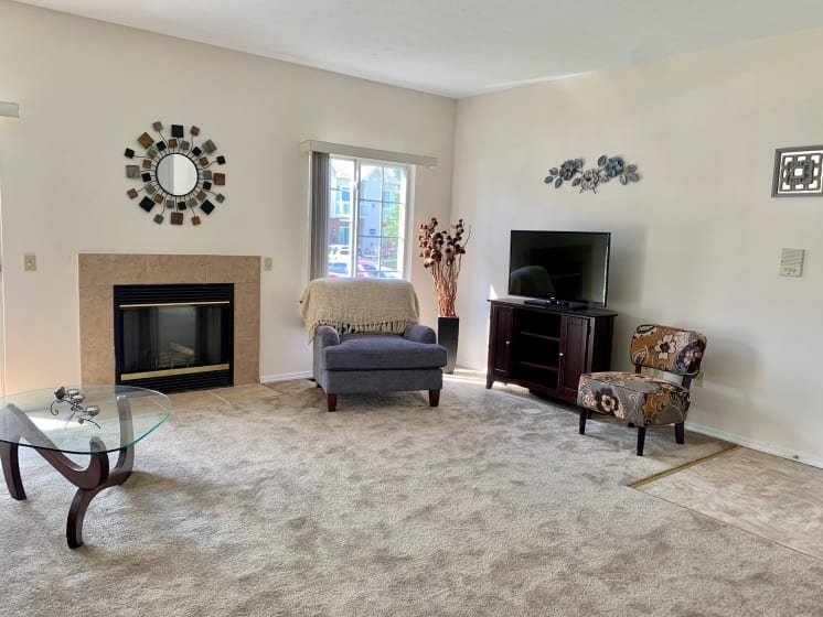 Living Room With Fireplace at Blueberry Hill Apartments, Rochester, NY