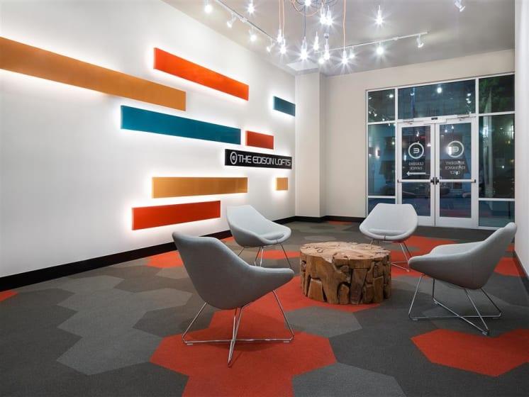 Posh Resident Lounge at The Edison Lofts Apartments, North Carolina, 27601