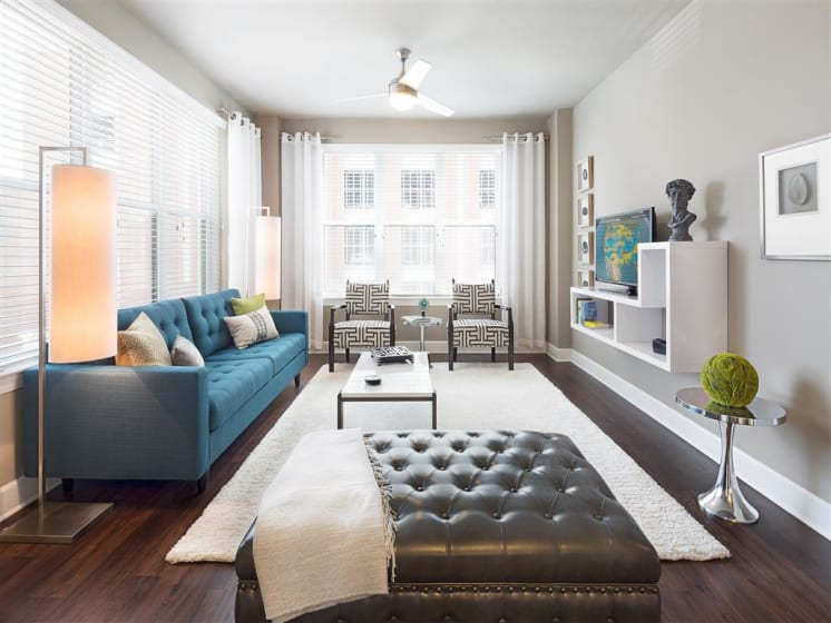 Living Room With Expansive Window at The Edison Lofts Apartments, Raleigh, 27601