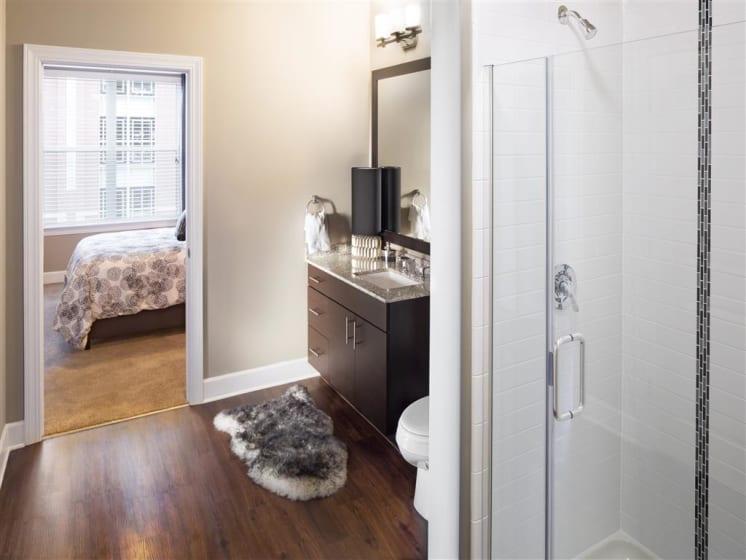 Large Bedroom en-suite Bathroom at The Edison Lofts Apartments, Raleigh, 27601