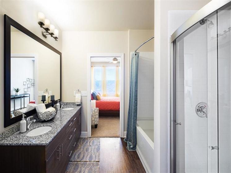 Designer Bathroom Suites at The Edison Lofts Apartments, Raleigh, North Carolina