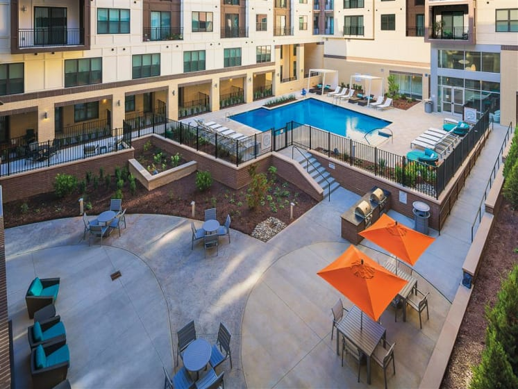 Swimming Pool With Relaxing Sundecks at The Edison Lofts Apartments, Raleigh, North Carolina