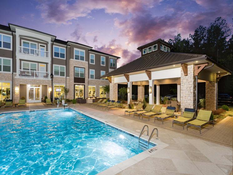 Pool Side Relaxing Area at The Flats at Ballantyne Apartments, Charlotte, North Carolina