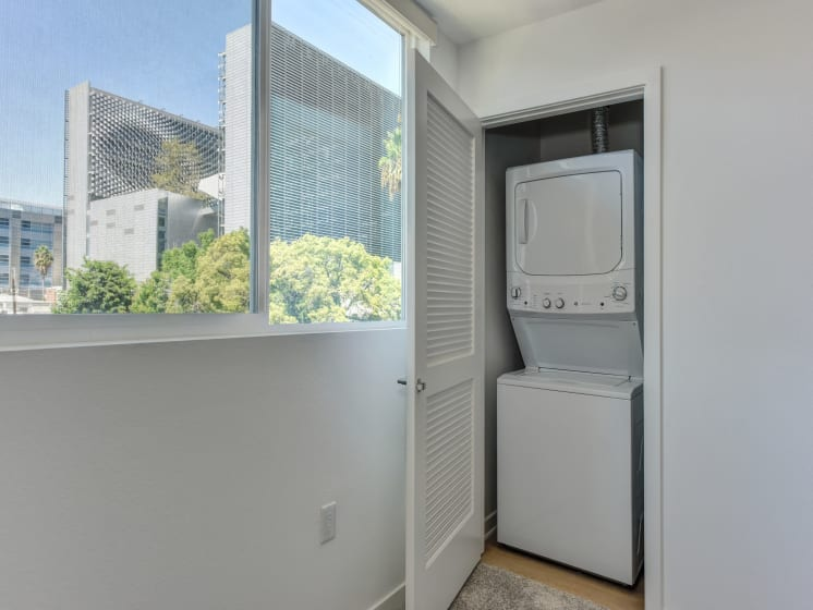 Washer and Dryer with View of Outside Window