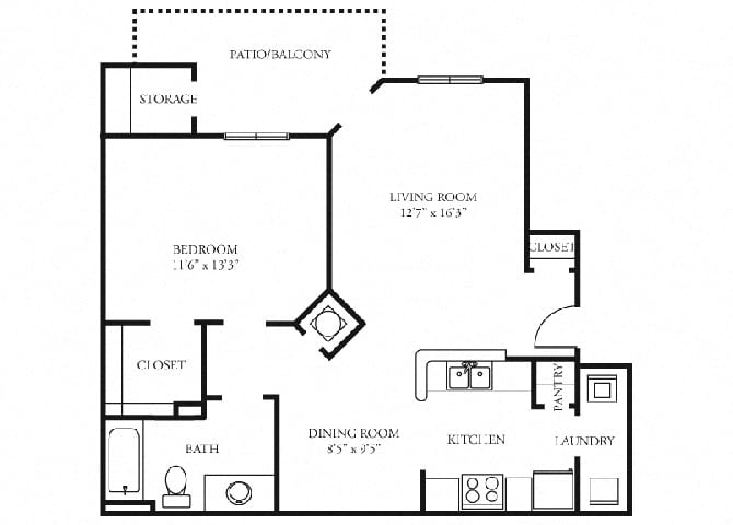 Carlyle  Floor Plan at Tramore Village Apartment Homes, Austell, GA