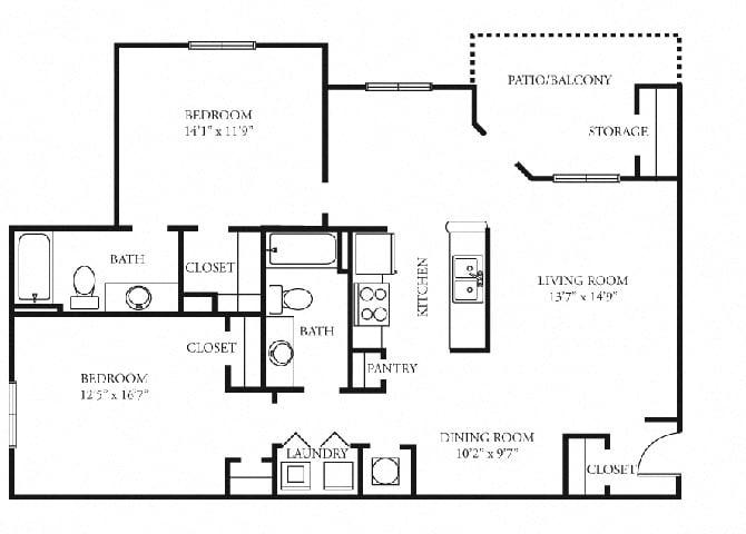 Paramount Floor Plan at Tramore Village Apartment Homes, Georgia, 30106