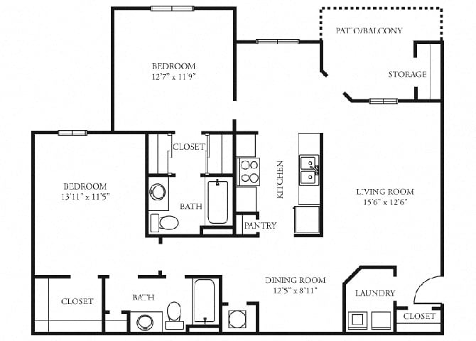 St. Claire Floor Plan at Tramore Village Apartment Homes, Austell, GA, 30106