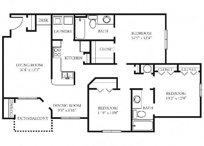 Essex Floor Plan at Tramore Village Apartment Homes, Austell, GA