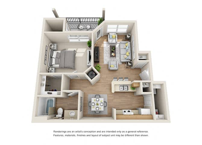 Carlyle Floor Plan at Tramore Village Apartment Homes, Austell, GA, 30106