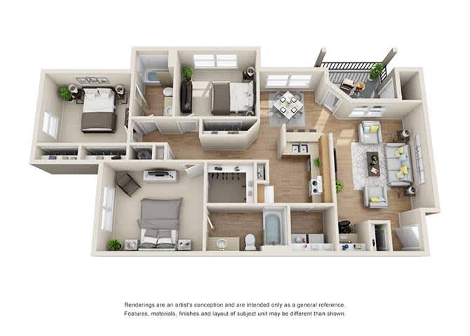 Essex Floor Plan at Tramore Village Apartment Homes, Austell