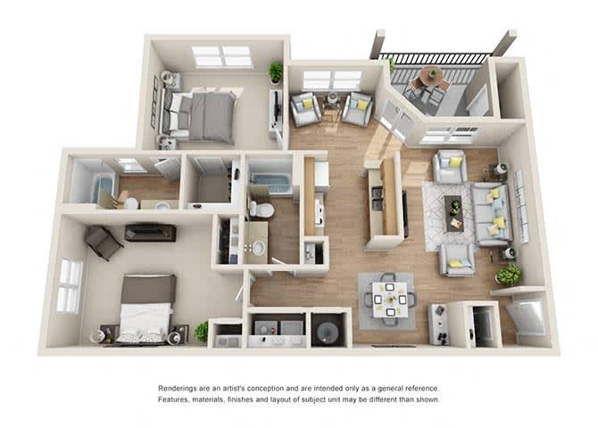 Paramount Floor Plan at Tramore Village Apartment Homes, Austell, 30106