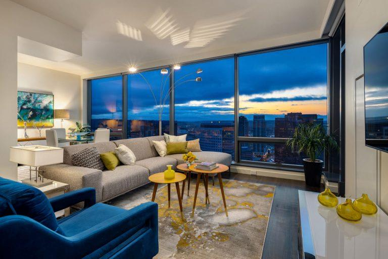 Classic Living Room Design With Television at Two Lincoln Tower, Washington, 98004
