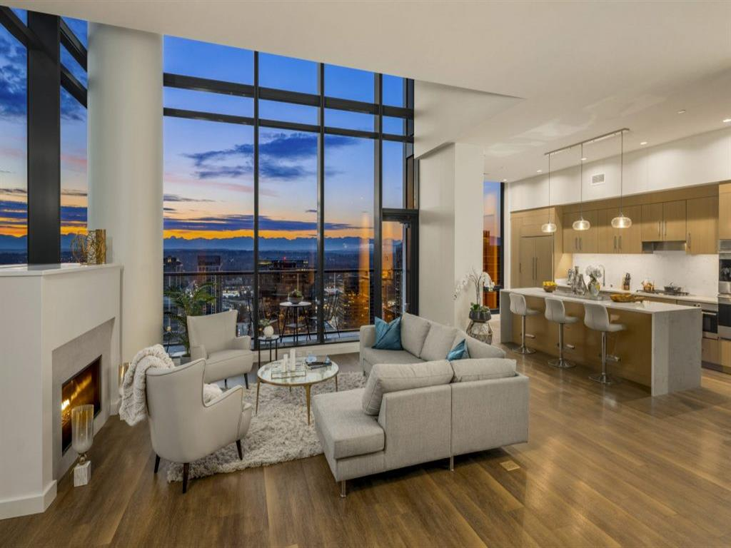 14th floor patio with innovative indoor/outdoor lounge at Two Lincoln Tower, Bellevue, WA, 98004