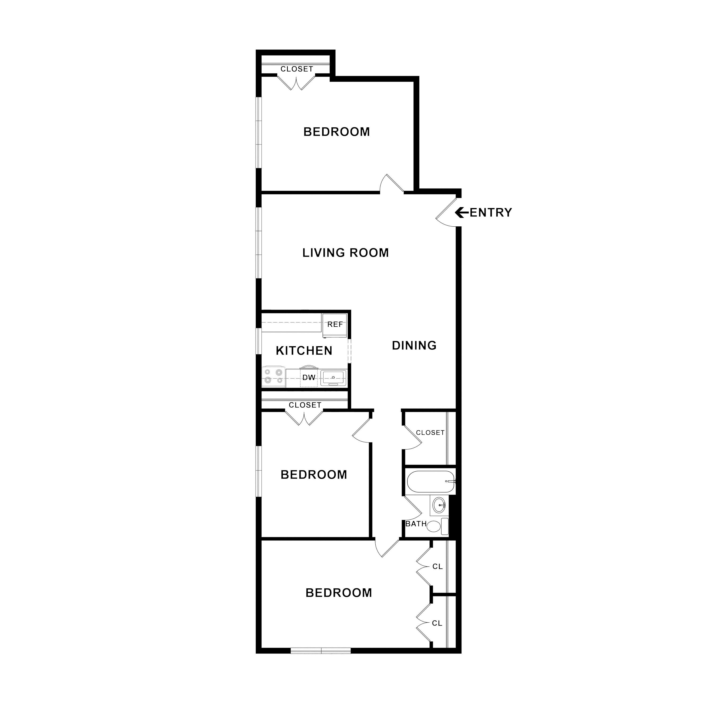 1 And 2 Bedroom Floor Plans Overlook Apartments