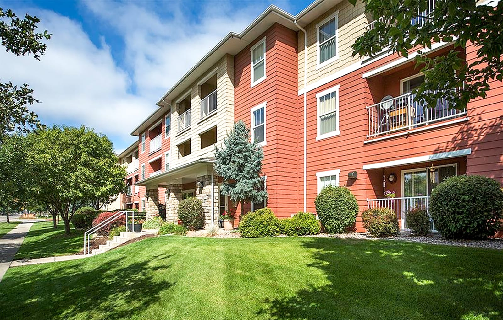 Apartment building exterior and landscaping,Apartment building exterior and landscaping,
