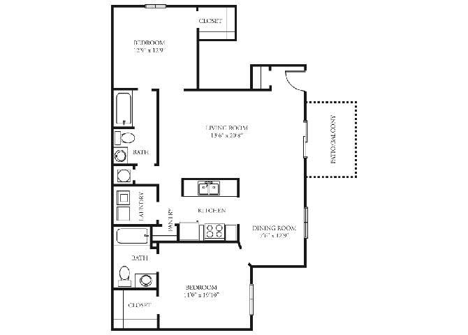 Biltmore Floor Plan at Tramore Village Apartment Homes, Georgia