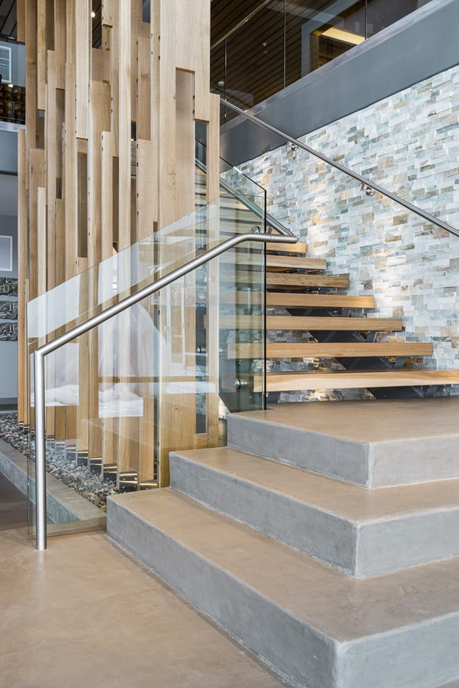 Stairway to the skywalk in the clubhouse at The Preserve in Bloomington, MN