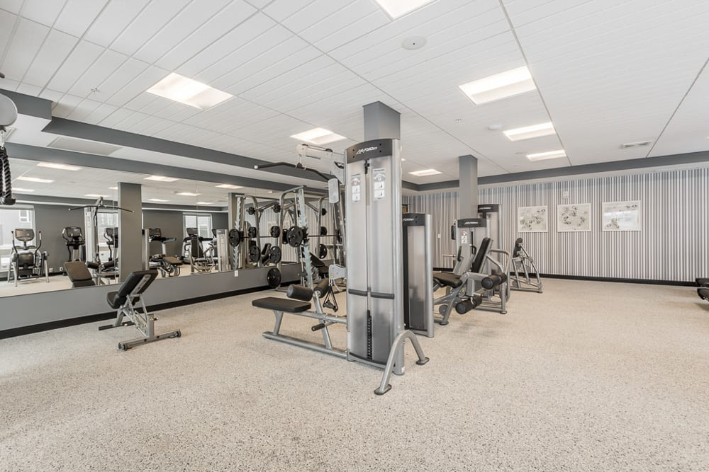 Large gym with several different weight machines.