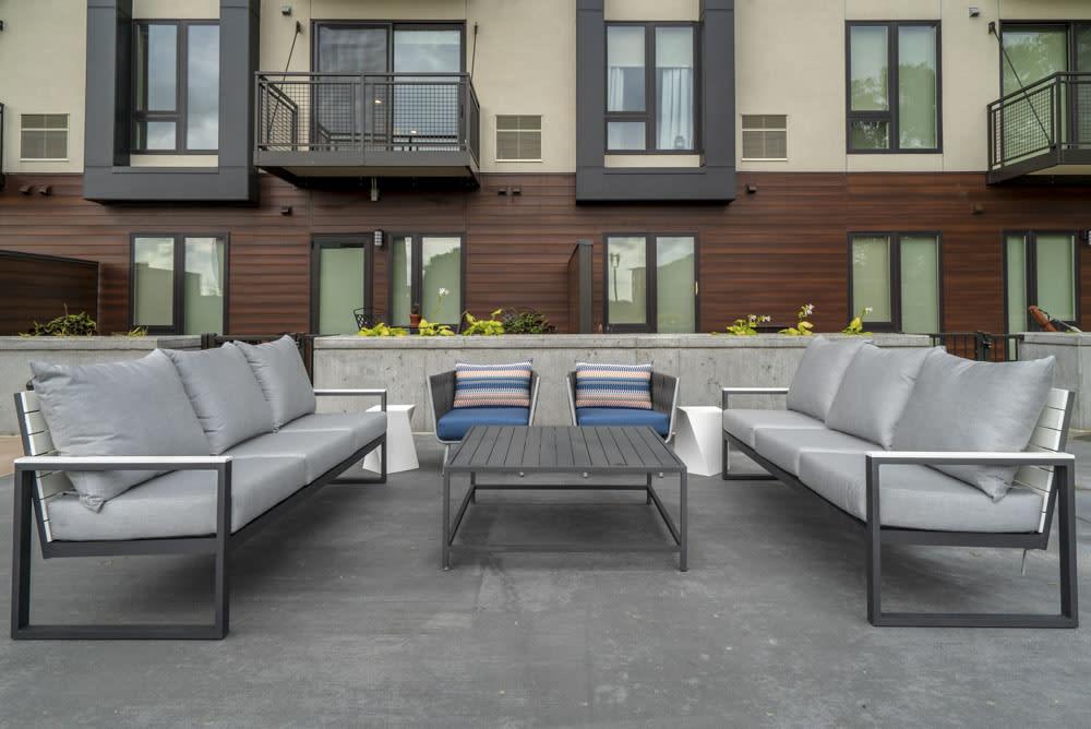 Comfortable setting area poolside.