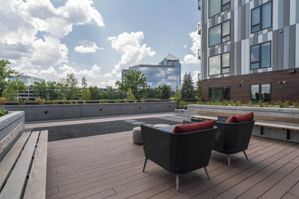 Sitting area with wonderful views of Bloomington.