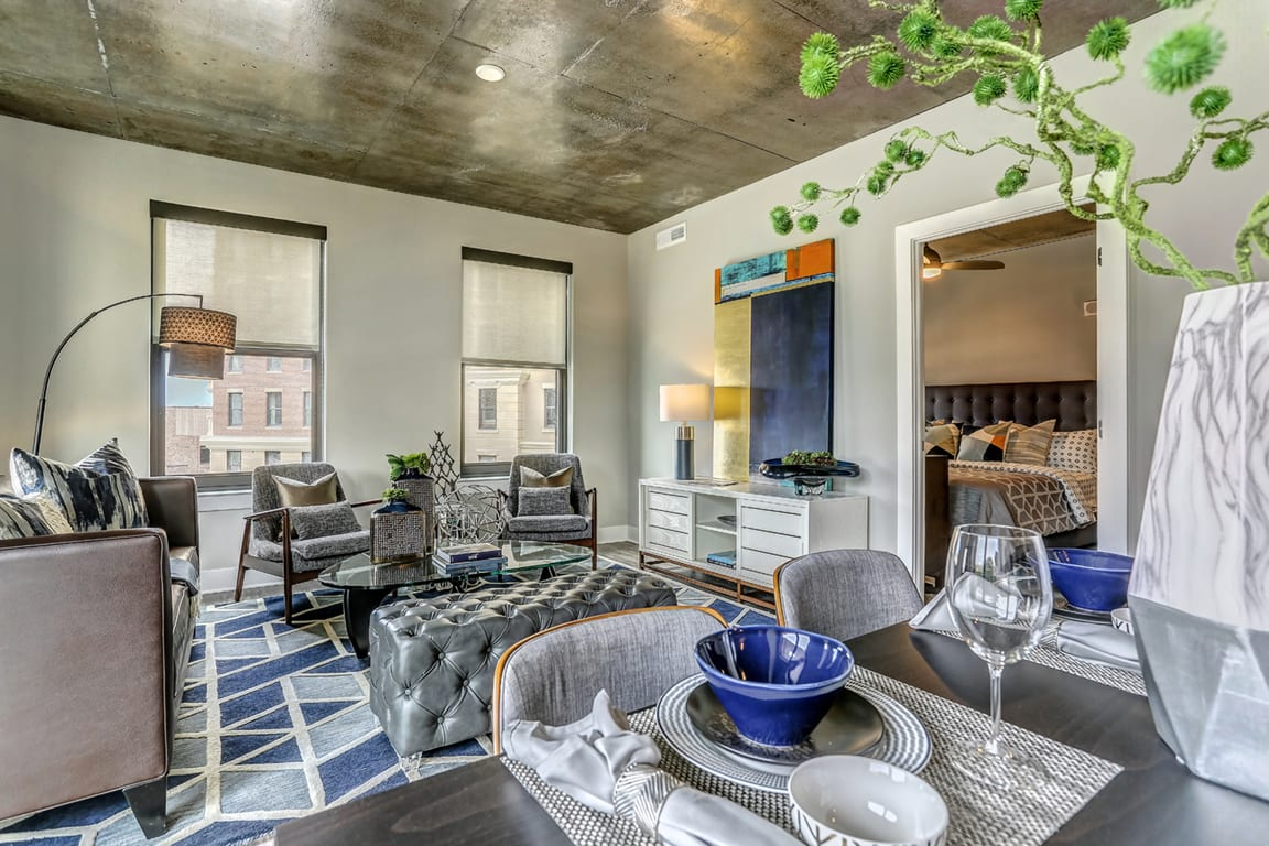 Living Room Come Dining Area View at Aertson Midtown, Nashville