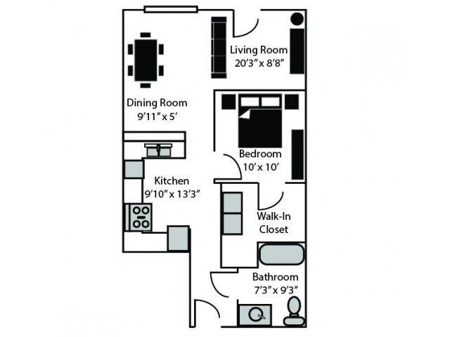 Wick Floor Plan at CityView Apartments, Greensboro, NC, 27406