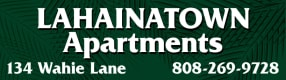 Lahaina Town Apartments logo with the address 134 Wahie Lane and phone number 8082699728