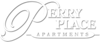 White Logo for Perry Place Apartments, Michigan