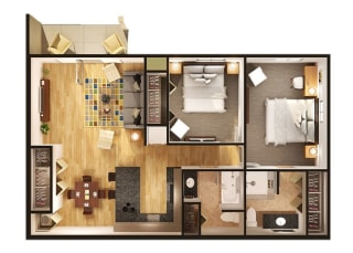 Floor Plan at Oliver Apartments, Temperance, 48182