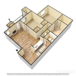 a 3-d image of a 2 bedroom, 2 bathroom floorplan at Forest Pointe Apartments in Macon, GA