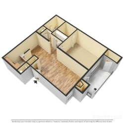 a 3-d image of a 1 bedroom, 1 bathroom floorplan at Forest Pointe Apartments in Macon, GA