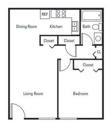 Floor Plan 1 Bedroom 1 Bath Classic