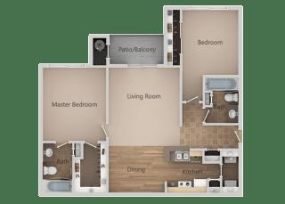 2 bedroom 2 bath Floor Plan at RemingtonApartments, Midvale, UT