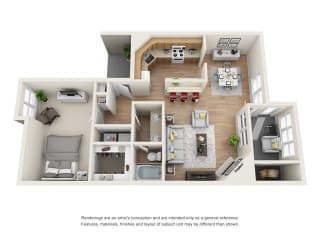 1 bed 1 bath floorplan, A4