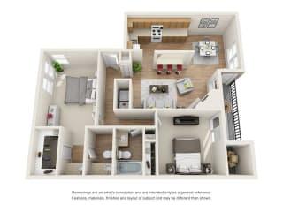 2 bed 1 bath floorplan, B5