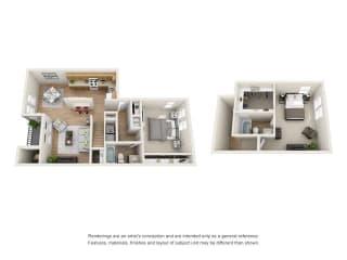 2 bed 2 bath Town Home floorplan, B7