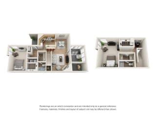 2 bed 2 bath Town Home floorplan, B9