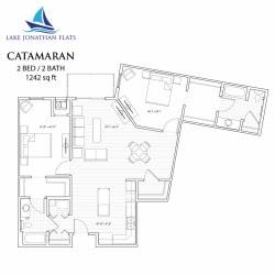 2 bedroom 2 bath Floor Plan at Lake Jonathan Flats, Minnesota, 55318
