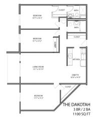 The Dakotah floor plan with three bedroom and two bath
