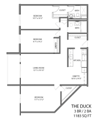 The duck floor plan layout with 3 bedrooms and 2 bathrooms