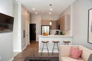 nordic studio floor plan, living and kitchen area