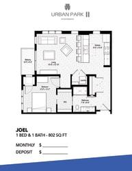 1 bedroom floor plan drawing, joel