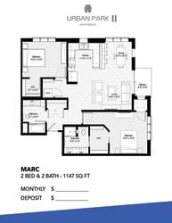 2 bedroom 2 bath floor plan drawing, Marc