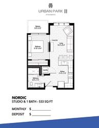 Studio floor plan drawing, Nordic floor plan
